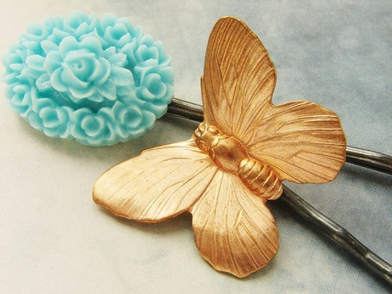 bridesmaid hairpins, Butterfly flower cameo, aqua blue flower bobby pins, bridal wedding hair accessories