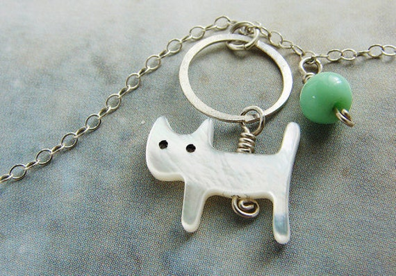 Cat Necklace, animal jewelry, cat lover gift, mother of pearl cat, vintage mint green glass bead