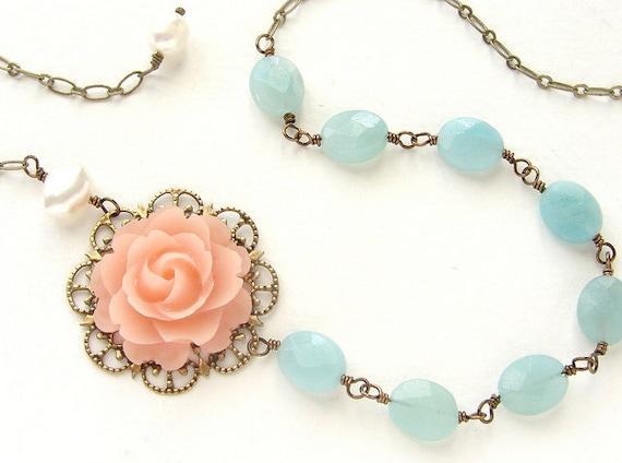 Blush Pink Rose aqua Necklace, Bridal jewelry, Seafoam stones wedding necklace bridal necklace