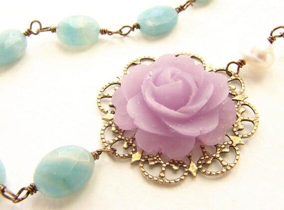 Bridal jewelry, Violet seafoam stone necklace, bridal wedding jewelry set, wedding lavender purple rose necklace