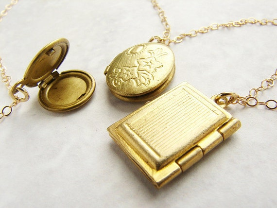 Trio locket statement necklace, vintage locket gold necklace, bridal jewelry, wedding jewelry
