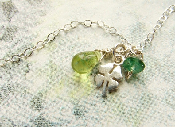 Tiny clover necklace, shamrock charm, Peridot emerald jade stone dainty everyday necklace, good luck charm