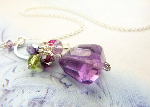 Gemstone jewelry, purple cluster necklace, Amethyst February birthday, bridesmaid jewelry, bridal party purple gemstone necklace