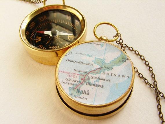 Personalized Map Compass keychain, custom city map, Okinawa Naha Japan, personalized map, man dude pocket chain keychain