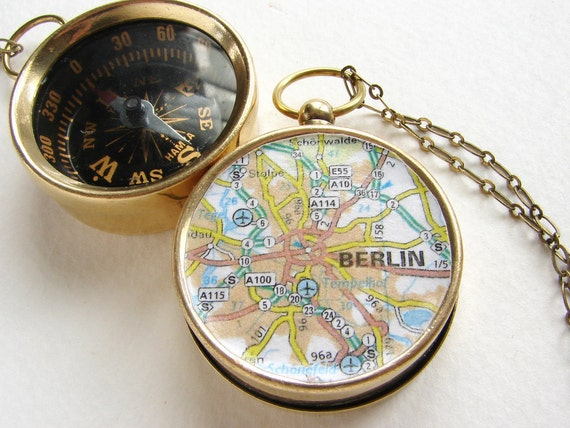 Compass Map Necklace, Personalized gift, custom map Berlin Germany Europe city, graduation gift, anniversary him her