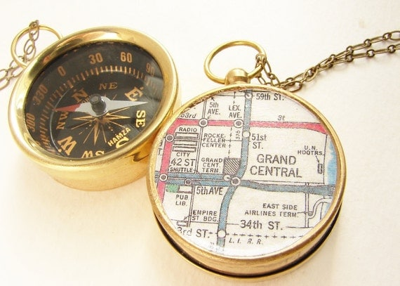 NYC subway Map Compass keychain, Personalized gift Manhattan Grand Central Station custom city map, personalized keychain
