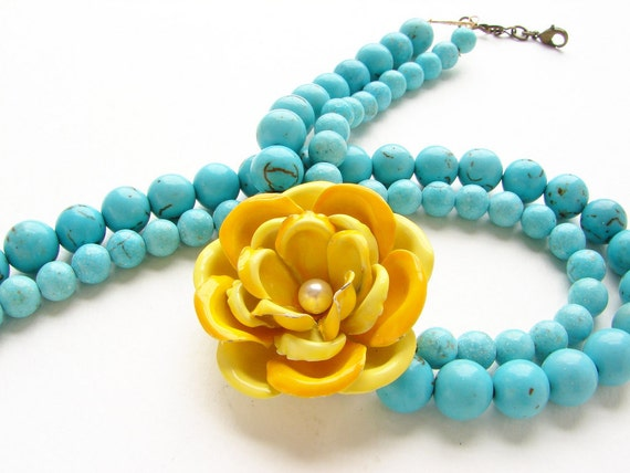 Lemon Yellow Rose Statement Necklace - double strands turquoise, OOAK vintage enamel brooch, yellow rose necklace