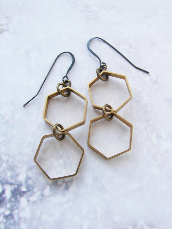 Honeycomb earrings, hexagon earrings, modern geometric earrings, simple everyday dangle