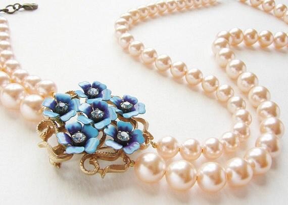 Statement necklace, Bridal necklace Wedding jewelry Vintage blue purple flower peach pearls statement necklace