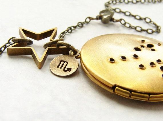 Scorpio constellation locket, Zodiac jewelry, constellation pendant, zodiac charm, October November birthday