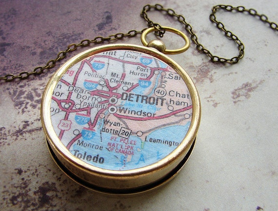 Personalized map compass necklace, Detroit Michigan Map, custom map compass, personalized gift dude men him