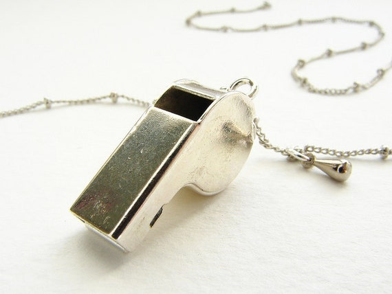 Tiny police whistle necklace, working miniature silver whistle delicate satellite chain, dog training whistle necklace