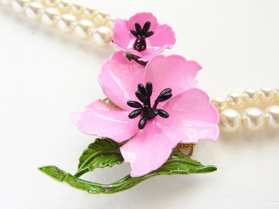 Statement necklace, PINK flower statement jewelry, Vintage pink enamel brooch pearl statement necklace, OOAK enamel Azalea brooch
