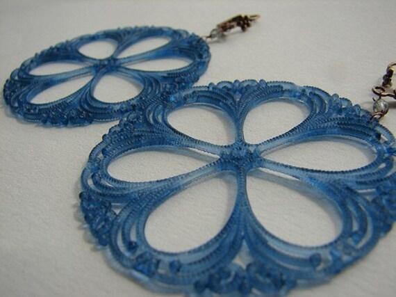 Glasshouse Earrings in Capri Blue - vintage German Lucite Filigree