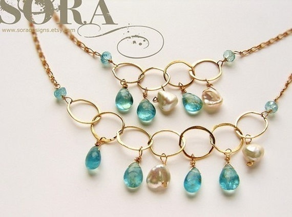 Seafoam gemstone layered gold necklace, statement necklace, Bridal jewelry, multiple strands pearls aqua Apatite long bridal necklace