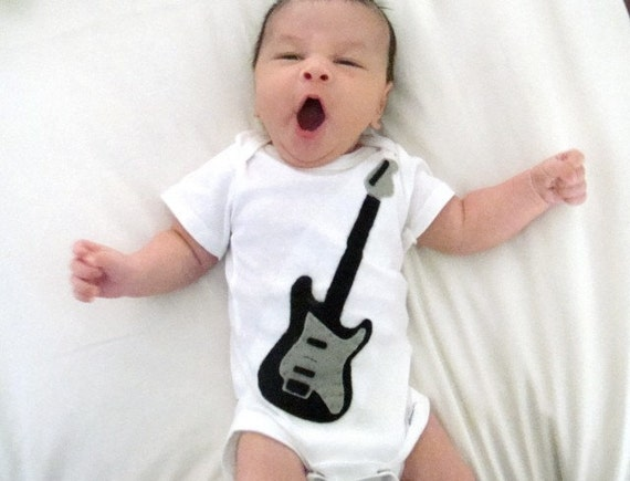 Black Guitar baby onesie
