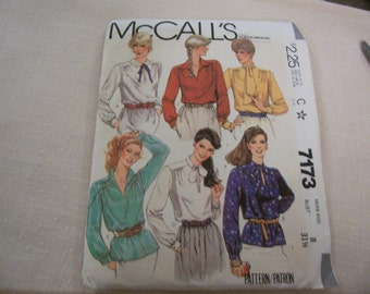 Vintage 1980's McCall's Misses Pullover blouses Size 8 Uncut - never used
