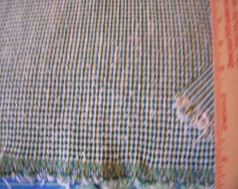 "Vintage Double Stretch knit fabric  little over 1 yard long x 66"" width - green/turquoise/white weave"