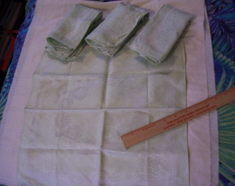 Vintage Light Green Linen brocade napkins -set of 5 matching