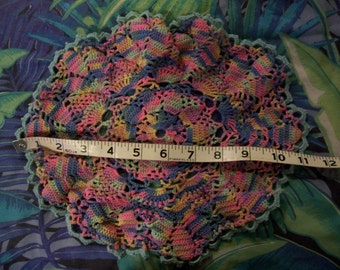 "VIntage Multicolor Hand crocheted Vintage Doily - 12"" diameter"