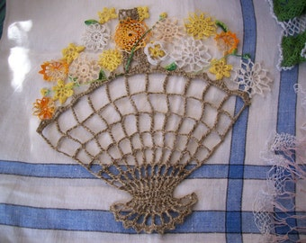 Vintage BASKET and Flowers Hand crocheted Doily - made w/Jute and cotton crochet