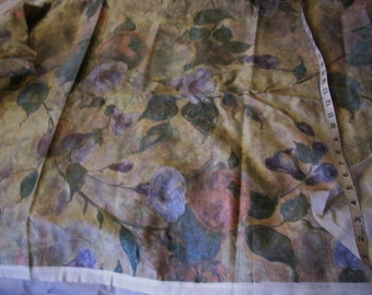 """Vintage BLue Petunia's and Peaches Lined Upholstery Fabric 54"""" l x 55"""" w"""