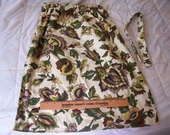 VIntage Floral Unfinished Large Lined Tote Bag - Retro flowers in Greens and browns