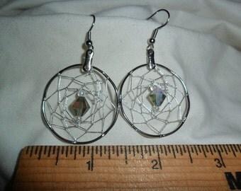 Dangling Dream catcher Earrings - Smokey irredescent bicone - silver metallic webbing