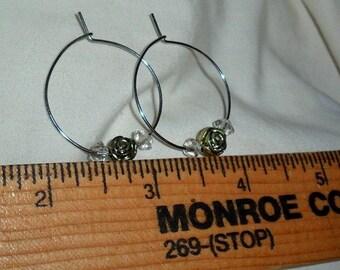 Handmade Silvertone Hoop earrings with Rose bead