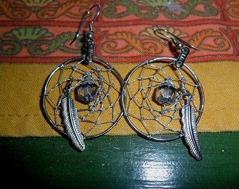 Dangling Dream catacher earrings - Silvertone hoop - Silver metallic Thread - smokey faceted bead