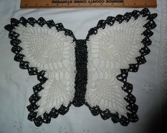 Vintage Handmade Butterfly doily - White with black w/silver Metallic edging