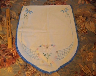 Vintage Table and/or Dresser Scarf - White w/Embroidered florals and blue crocheted edging