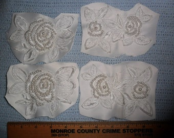 4 Vintage White Floral Appliques with hand sewn pearls