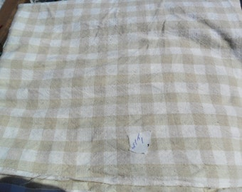 """Vintage Ecru and white check cotton fabric - two 49"""" lengths x 44"""" width"""
