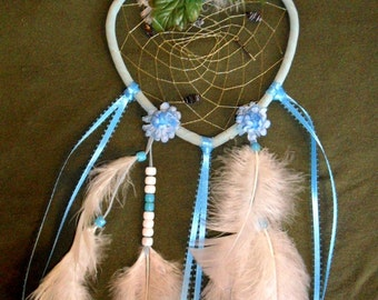 Dream Catcher - Blue FLoral Heart Shaped - Glass Beads - Light Blue - Metallic Thread -