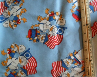"VIntage TWILL Fabric - Marching Americana Ducks against light blue background - 2 yards x 45"" width"