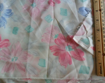 """Vintage Fabric - over 3 yards in length x 60"""" width - Soft pastel florals against white background"""