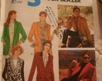 Vintage 1991 Simplicity pattern 7522 - Misses Jacket with Shawl - size NN - 10 to 16