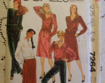 Vintage UNUSED McCall's Pattern 7264 - Misses Top - pants and skirt in size 12