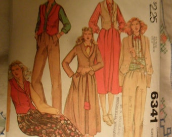 McCalls Pattern 6341 - Misses Unlined Jacket or Vest - skirt and pants - sizes 8 thru 12