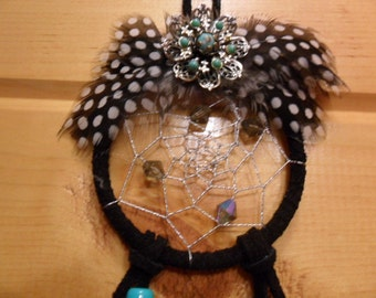 Black Dream Catcher - Black and white spotted feathers - Faceted Irridescent glass bicone beads
