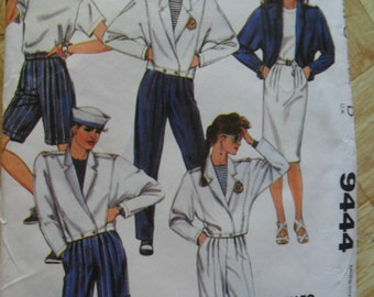 Vintage 1985 McCall's Pattern 9444 - Misses Jacket, top, skirt, pants and shorts - size 10