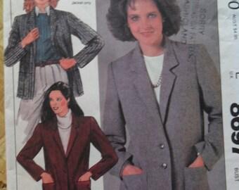Vintage 1985 McCall's Pattrn 8697 - Misses Jacket in size 16