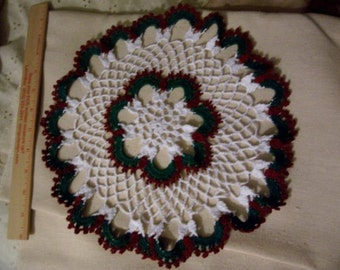2 Vintage doilies - Dusty Rose Doily  and White/Green/DOily