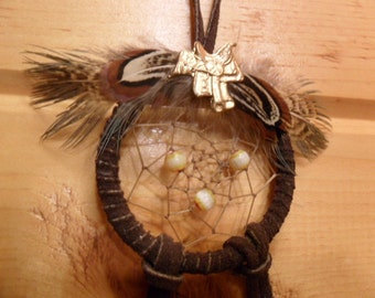 Dream Catcher - Brown w/Glass Beads and pheasant feathers