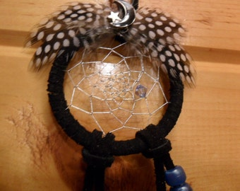 Dream Catcher - Black w/white spotted guinea hen feathers