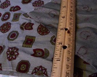 """Vintage Gray-Green Cotton Fabric with Retro designs over 1 yard x 43"""" width"""