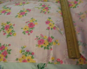 "Vintage Pink Cotton fabric with Florals 48"" long x 46"" width"