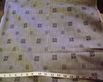 """Gray polyester fabric with black embroidery look pattern 3 yard 30"""" length x 43"""" width"""