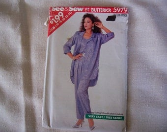 Uncut Vintage 1987 BUtterick Pattern Ladies Top and pants pattern in sizes Tall B 16 thru 24